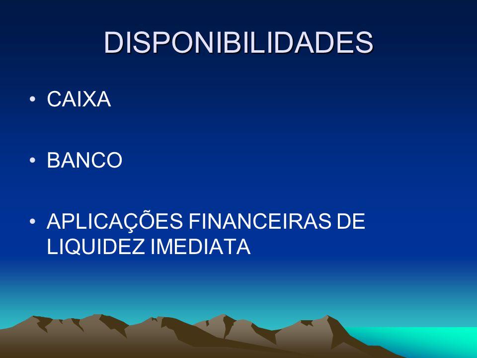 DISPONIBILIDADES CAIXA BANCO