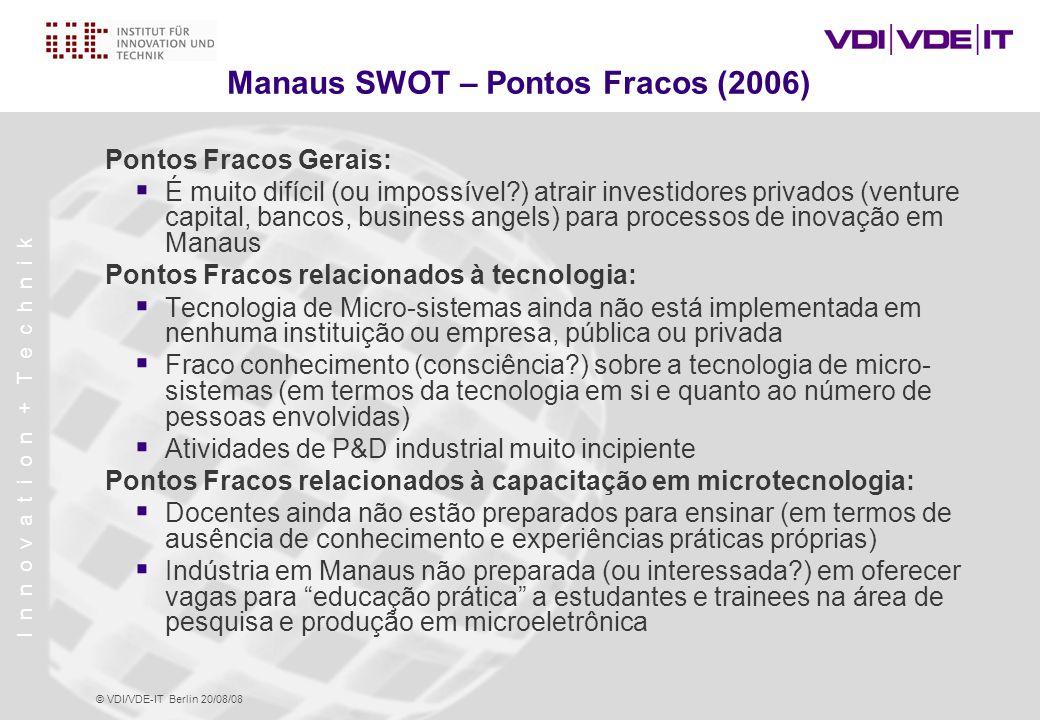 Manaus SWOT – Pontos Fracos (2006)