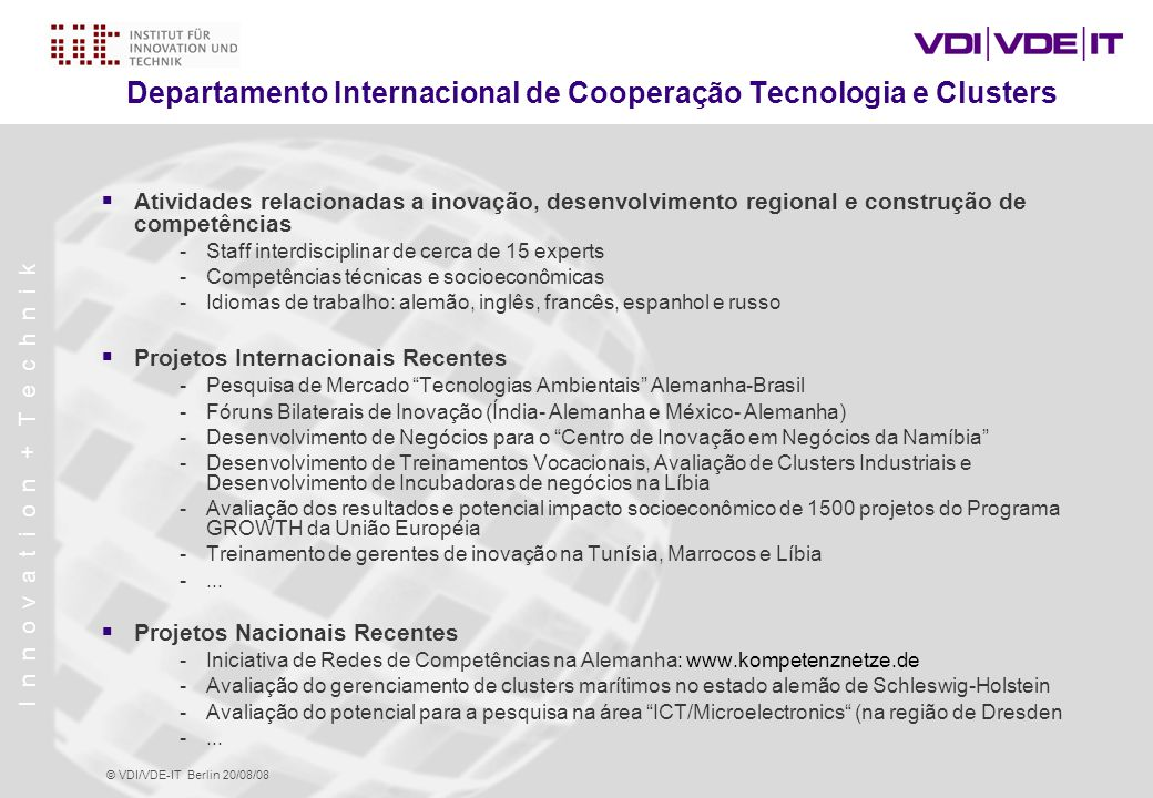 Departamento Internacional de Cooperação Tecnologia e Clusters