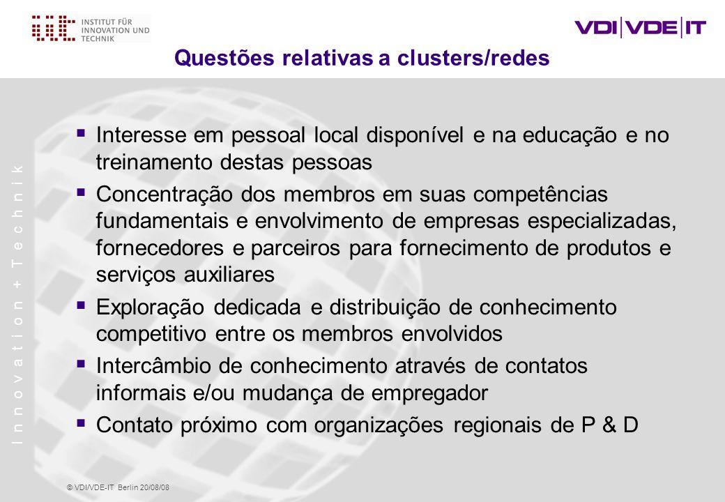 Questões relativas a clusters/redes