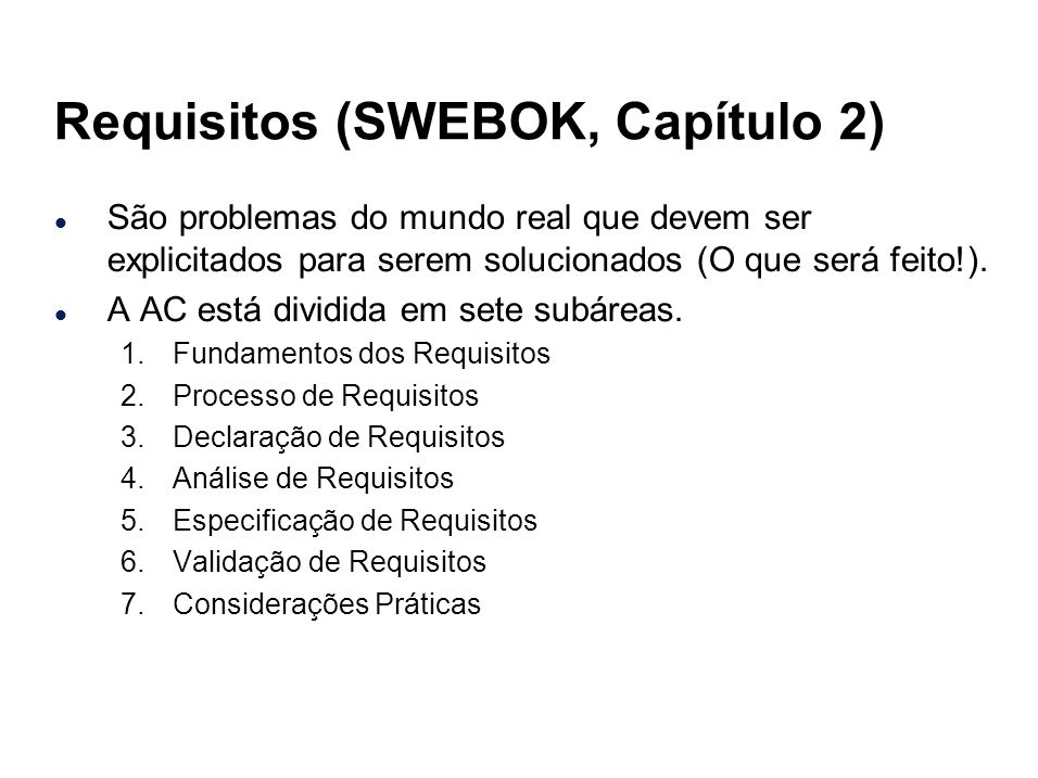 Requisitos (SWEBOK, Capítulo 2)