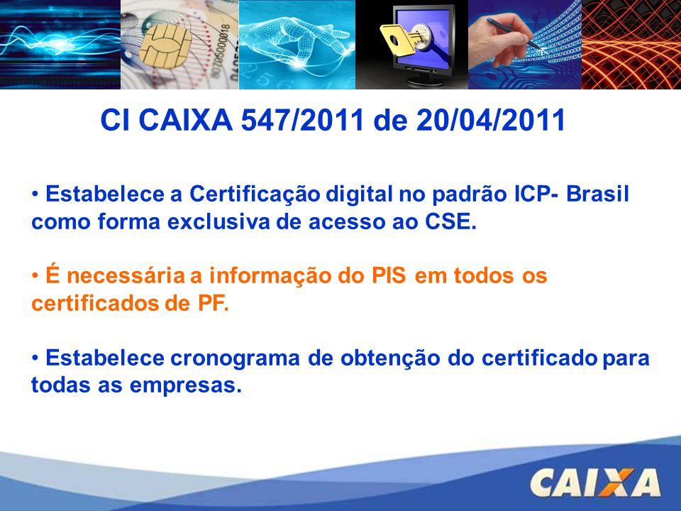 CI CAIXA 547/2011 de 20/04/2011 Estabelece a Certificação digital no padrão ICP- Brasil como forma exclusiva de acesso ao CSE.