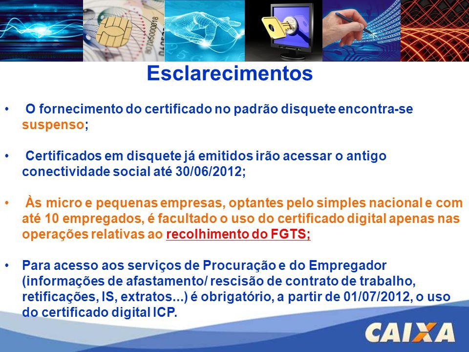Esclarecimentos O fornecimento do certificado no padrão disquete encontra-se suspenso;