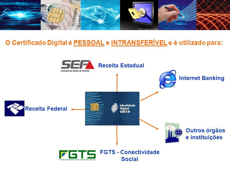 O Certificado Digital é PESSOAL e INTRANSFERÍVEL e é utilizado para: