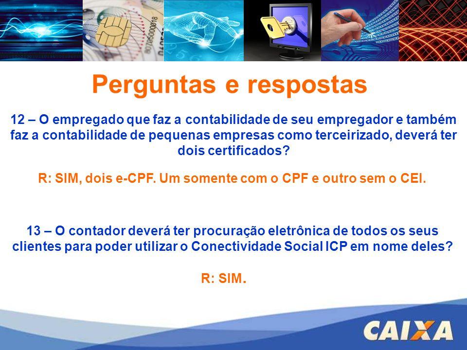R: SIM, dois e-CPF. Um somente com o CPF e outro sem o CEI.