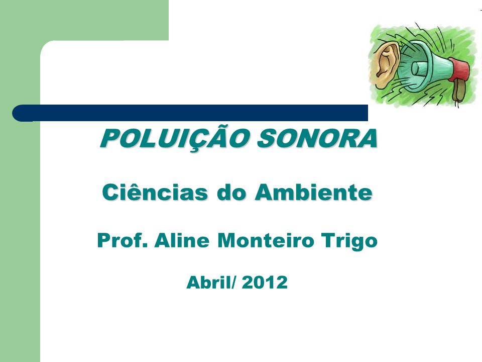 POLUIÇÃO SONORA Ciências do Ambiente Prof