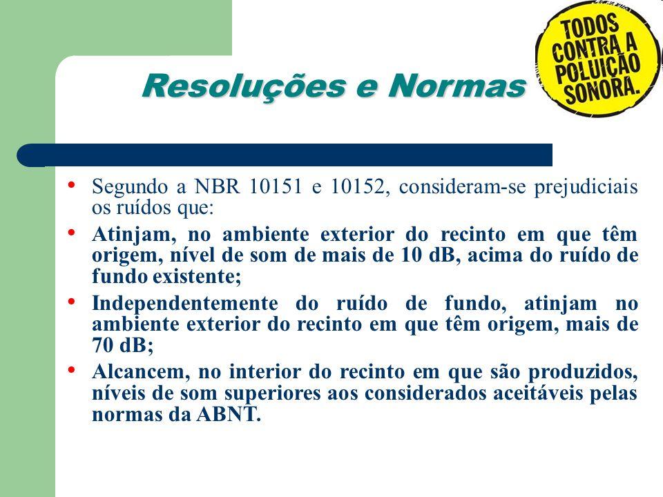 Resoluções e Normas Segundo a NBR 10151 e 10152, consideram-se prejudiciais os ruídos que: