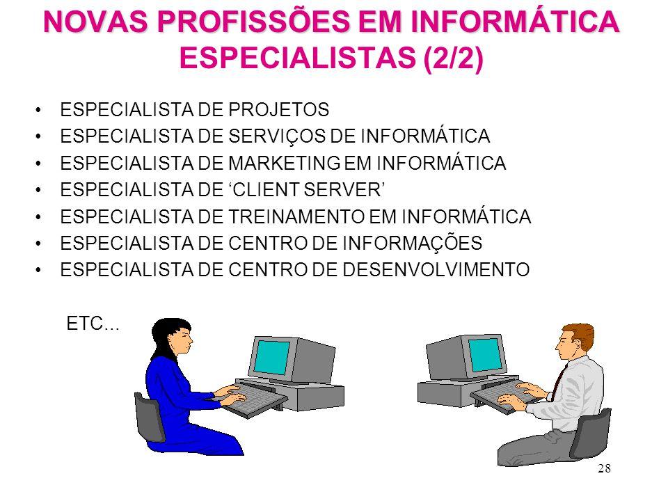 NOVAS PROFISSÕES EM INFORMÁTICA ESPECIALISTAS (2/2)