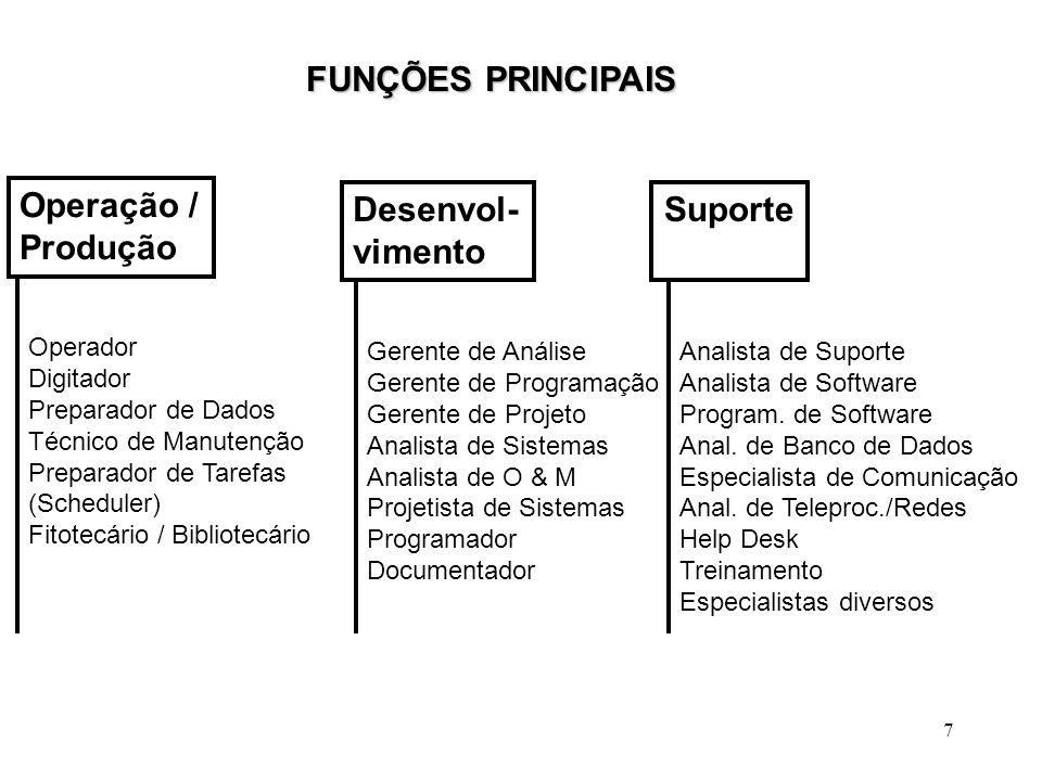 FUNÇÕES PRINCIPAIS Operação / Produção Desenvol- vimento Suporte