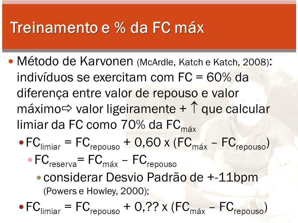 Treinamento e % da FC máx