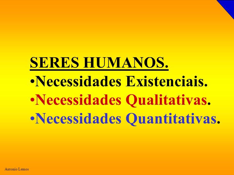 SERES HUMANOS. Necessidades Existenciais. Necessidades Qualitativas. Necessidades Quantitativas.