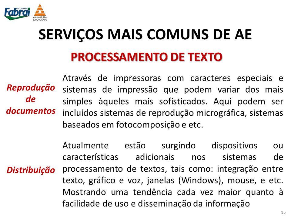 SERVIÇOS MAIS COMUNS DE AE PROCESSAMENTO DE TEXTO