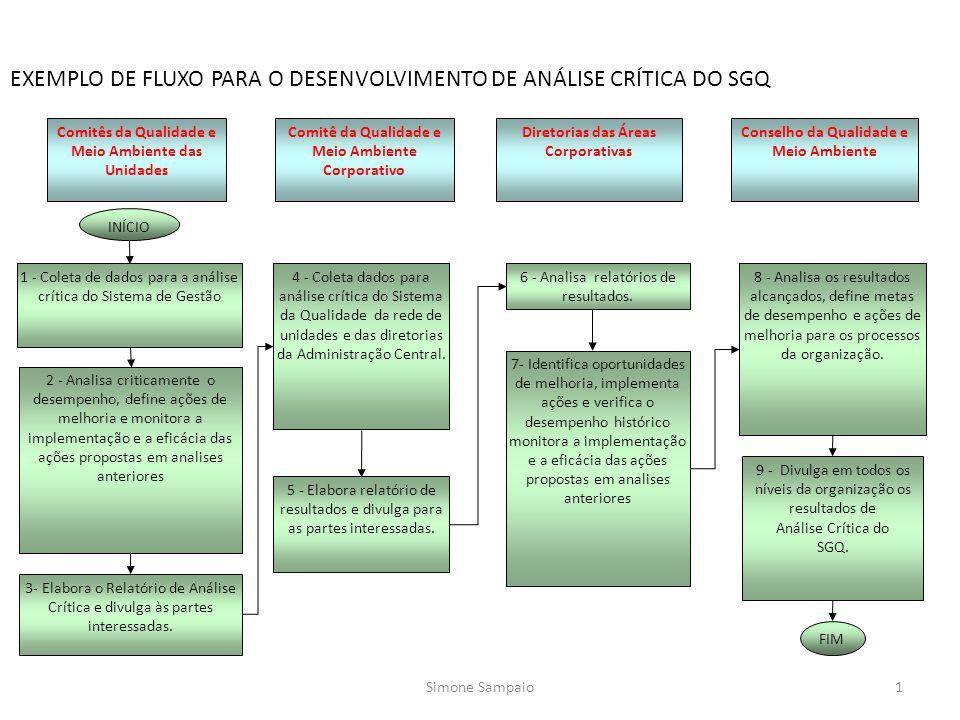EXEMPLO DE FLUXO PARA O DESENVOLVIMENTO DE ANÁLISE CRÍTICA DO SGQ