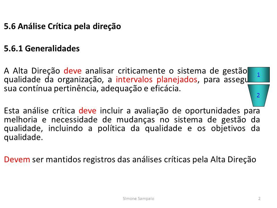 5.6 Análise Crítica pela direção 5.6.1 Generalidades