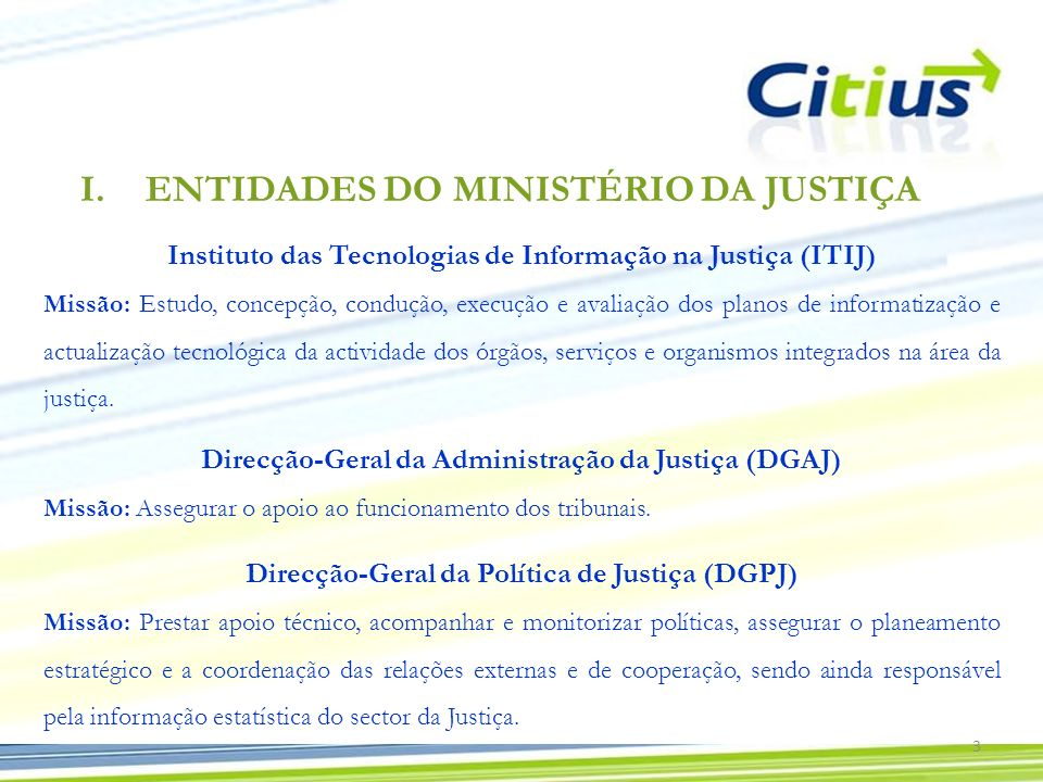 ENTIDADES DO MINISTÉRIO DA JUSTIÇA