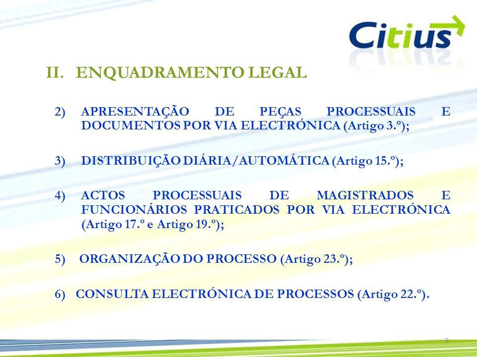 ENQUADRAMENTO LEGALAPRESENTAÇÃO DE PEÇAS PROCESSUAIS E DOCUMENTOS POR VIA ELECTRÓNICA (Artigo 3.º);