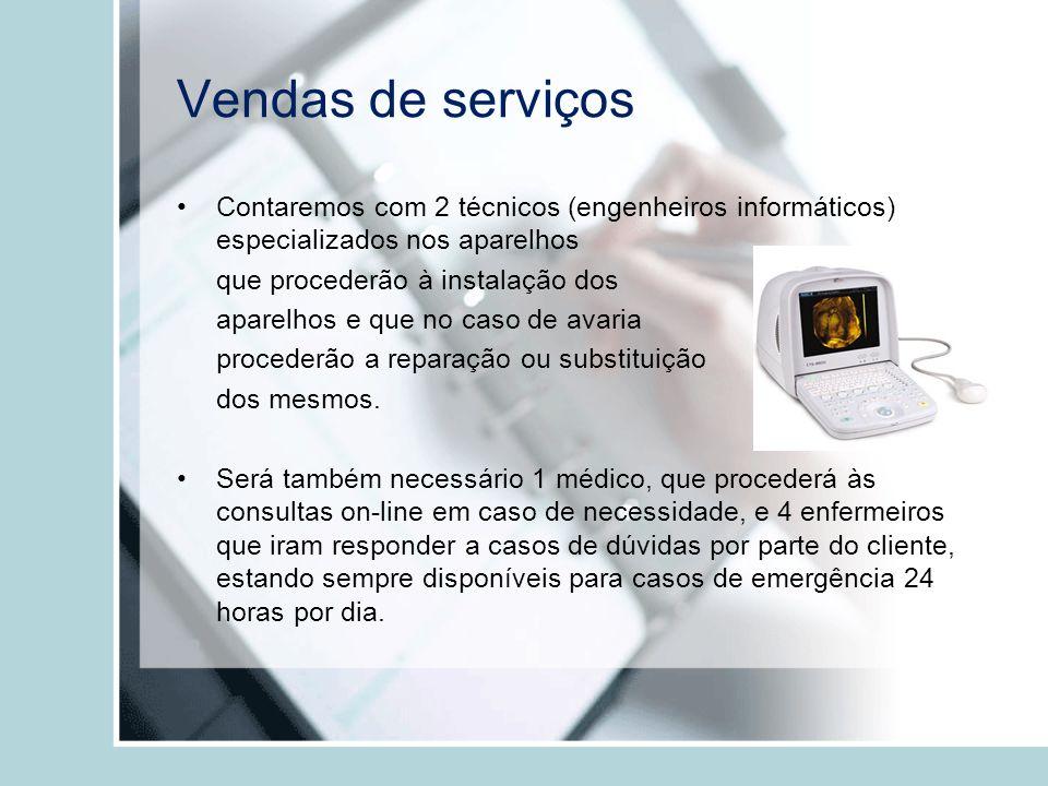 Vendas de serviços Contaremos com 2 técnicos (engenheiros informáticos) especializados nos aparelhos.