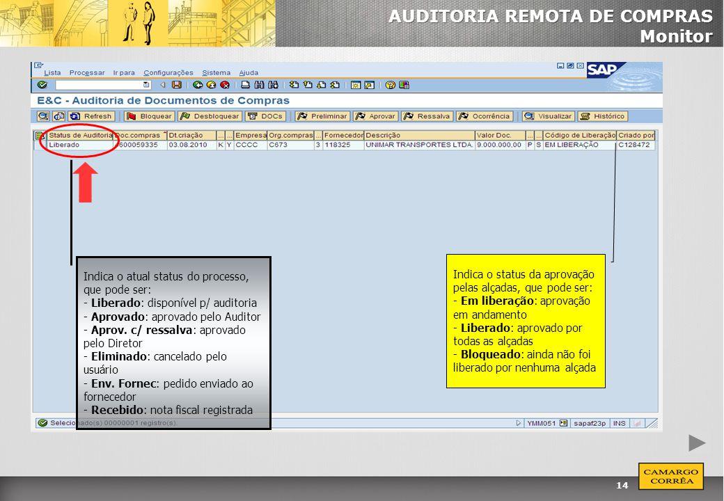 AUDITORIA REMOTA DE COMPRAS Monitor