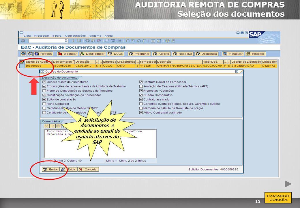 AUDITORIA REMOTA DE COMPRAS Seleção dos documentos