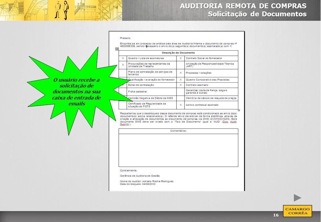 AUDITORIA REMOTA DE COMPRAS Solicitação de Documentos