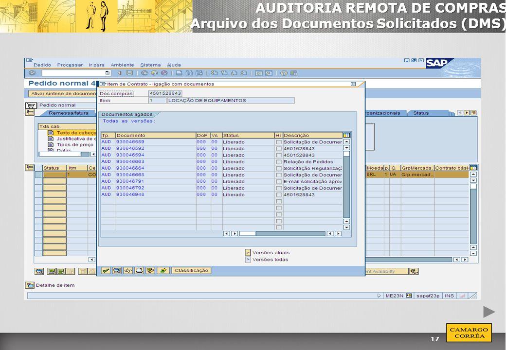 AUDITORIA REMOTA DE COMPRAS Arquivo dos Documentos Solicitados (DMS)