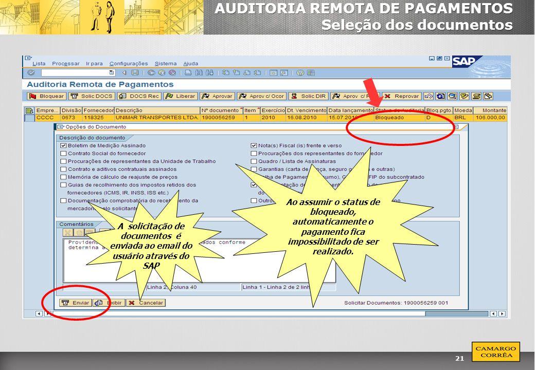 AUDITORIA REMOTA DE PAGAMENTOS Seleção dos documentos