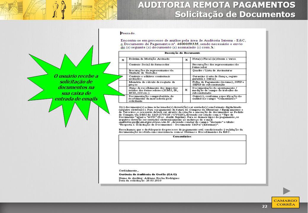 AUDITORIA REMOTA PAGAMENTOS Solicitação de Documentos