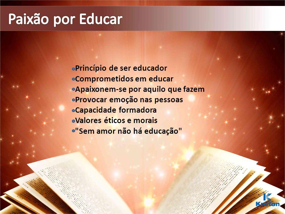 Paixão por Educar Princípio de ser educador Comprometidos em educar