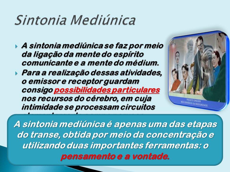 Sintonia Mediúnica A sintonia mediúnica se faz por meio da ligação da mente do espírito comunicante e a mente do médium.