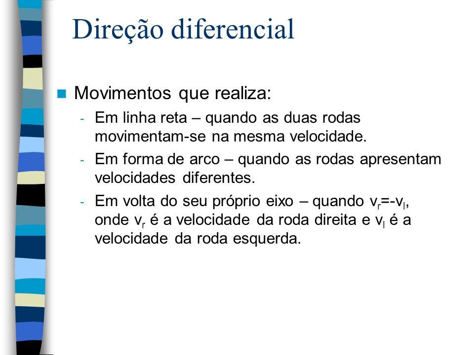 Direção diferencial Movimentos que realiza: