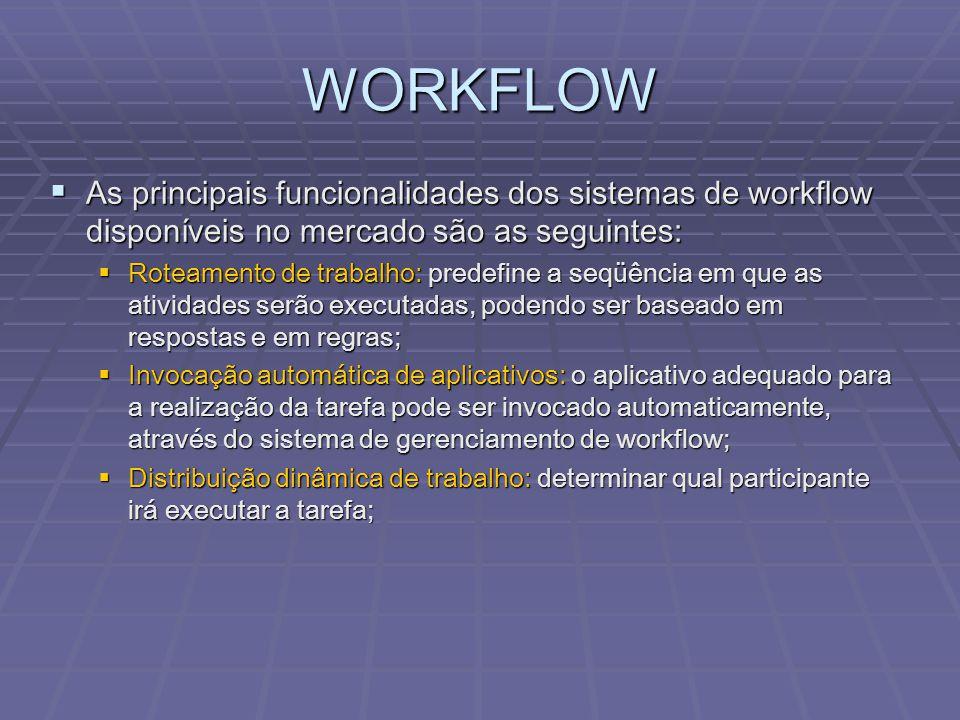 WORKFLOW As principais funcionalidades dos sistemas de workflow disponíveis no mercado são as seguintes: