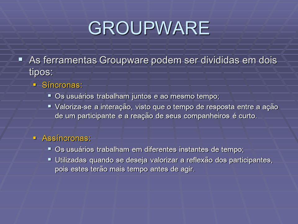 GROUPWARE As ferramentas Groupware podem ser divididas em dois tipos: