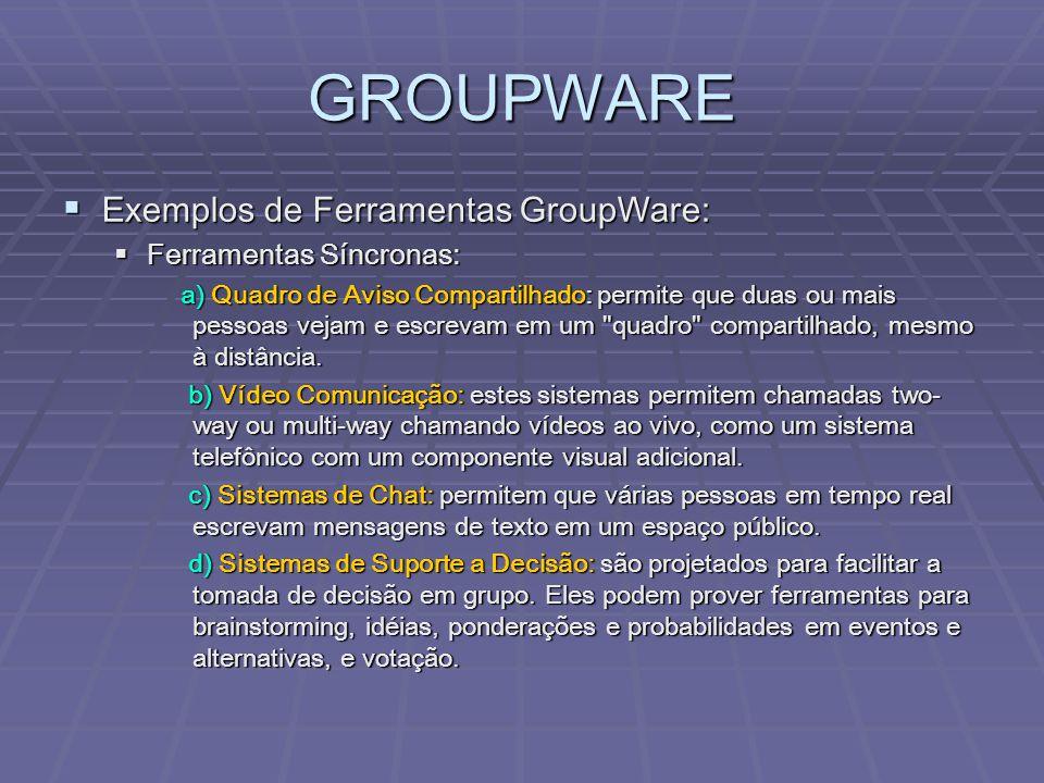 GROUPWARE Exemplos de Ferramentas GroupWare: Ferramentas Síncronas: