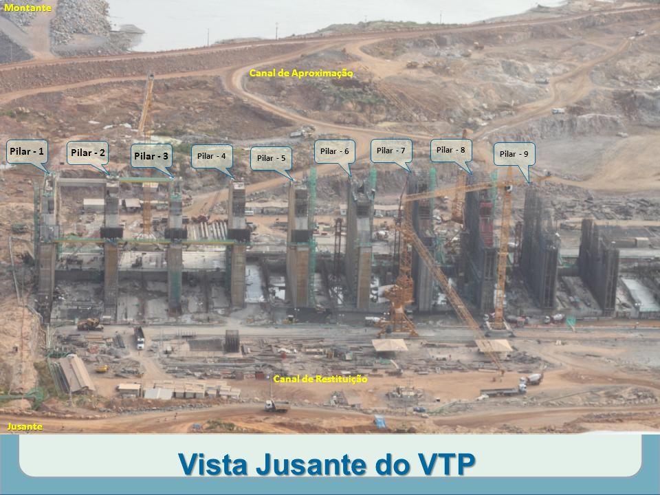 Vista Jusante do VTP Montante Canal de Aproximação Pilar - 1 Pilar - 2