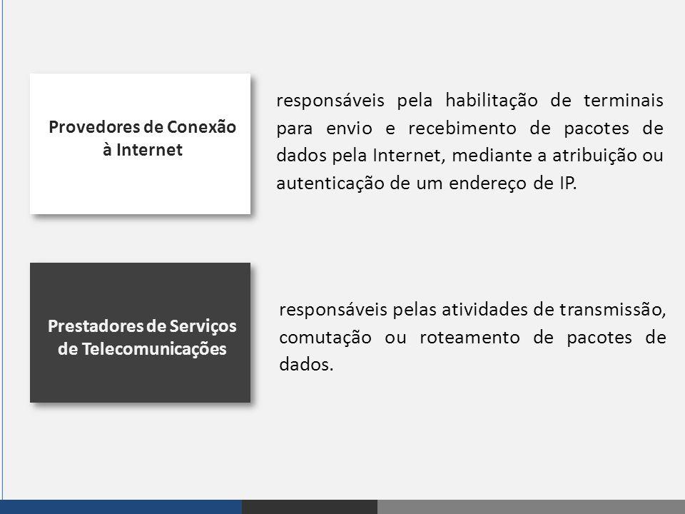 responsáveis pela habilitação de terminais para envio e recebimento de pacotes de dados pela Internet, mediante a atribuição ou autenticação de um endereço de IP.