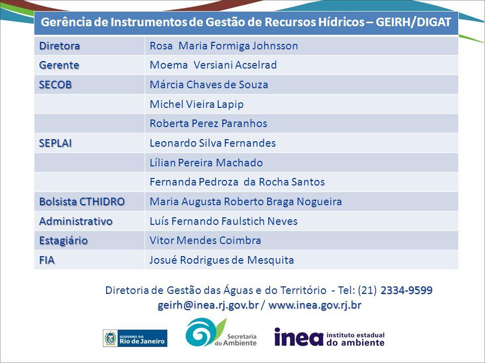 Gerência de Instrumentos de Gestão de Recursos Hídricos – GEIRH/DIGAT