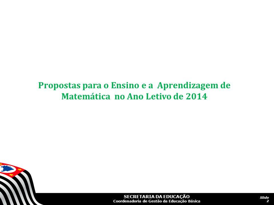Propostas para o Ensino e a Aprendizagem de Matemática no Ano Letivo de 2014