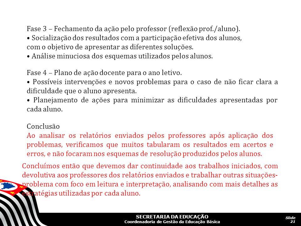 Fase 3 – Fechamento da ação pelo professor (reflexão prof./aluno).
