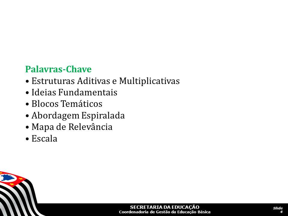 Palavras-Chave • Estruturas Aditivas e Multiplicativas. • Ideias Fundamentais. • Blocos Temáticos.
