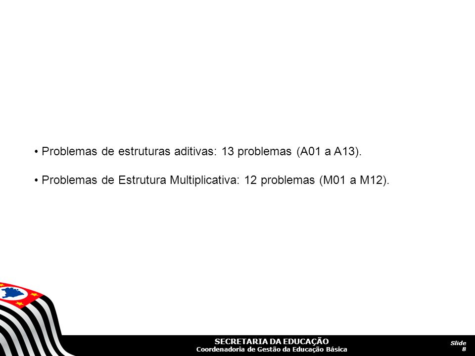 • Problemas de estruturas aditivas: 13 problemas (A01 a A13).