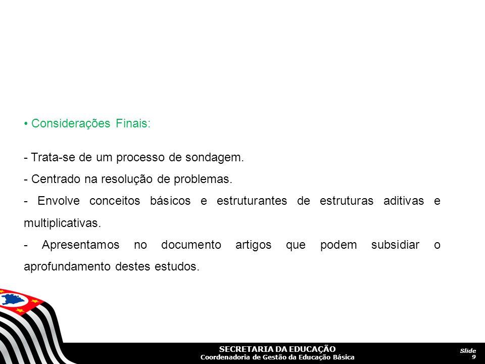 • Considerações Finais: