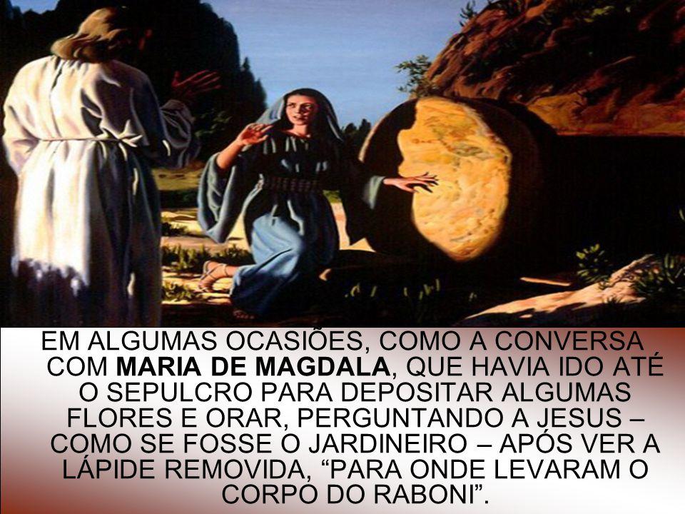 EM ALGUMAS OCASIÕES, COMO A CONVERSA COM MARIA DE MAGDALA, QUE HAVIA IDO ATÉ O SEPULCRO PARA DEPOSITAR ALGUMAS FLORES E ORAR, PERGUNTANDO A JESUS – COMO SE FOSSE O JARDINEIRO – APÓS VER A LÁPIDE REMOVIDA, PARA ONDE LEVARAM O CORPO DO RABONI .