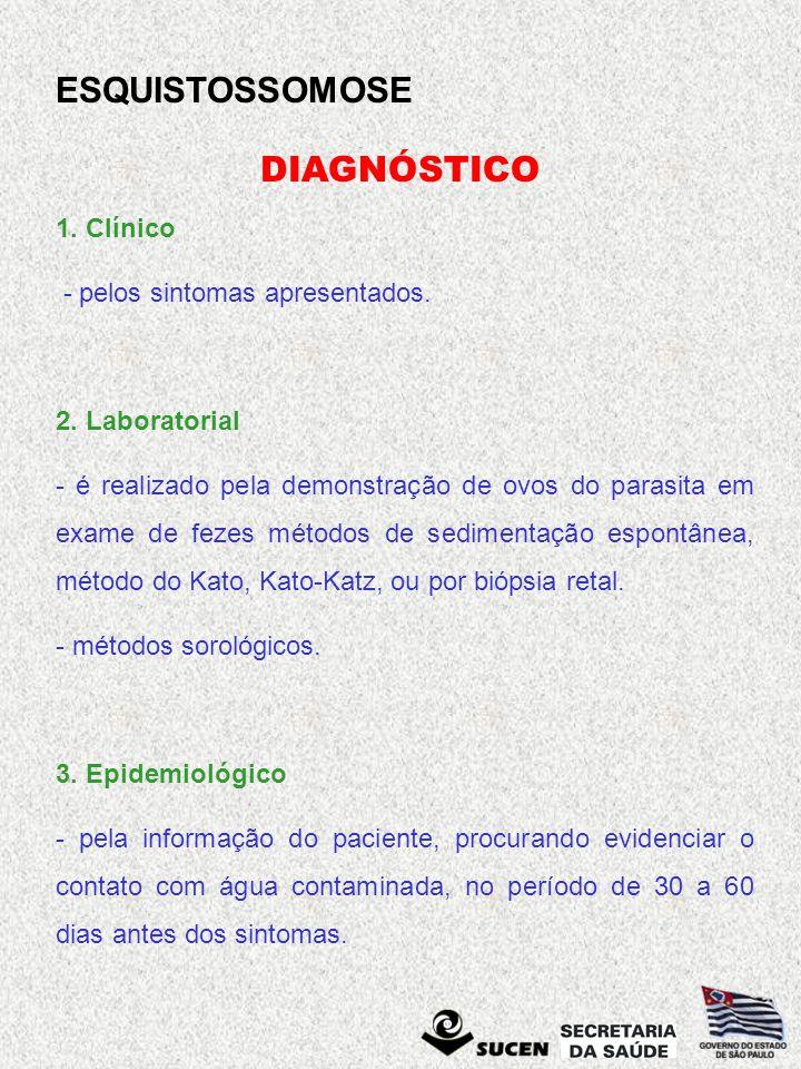 DIAGNÓSTICO 1. Clínico - pelos sintomas apresentados. 2. Laboratorial