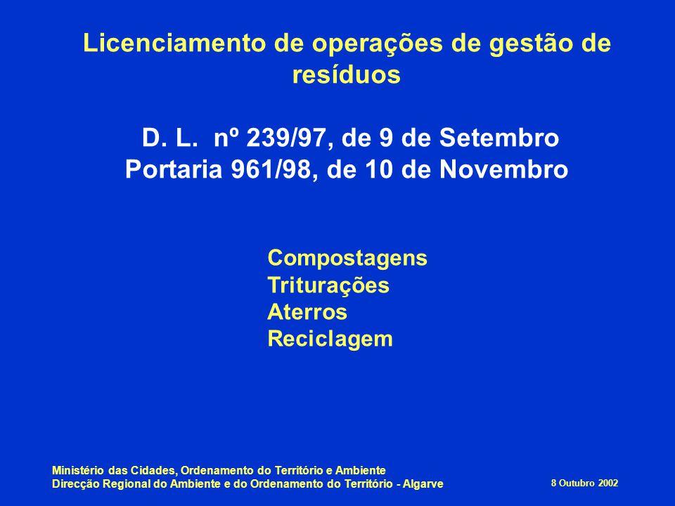 Licenciamento de operações de gestão de resíduos D. L