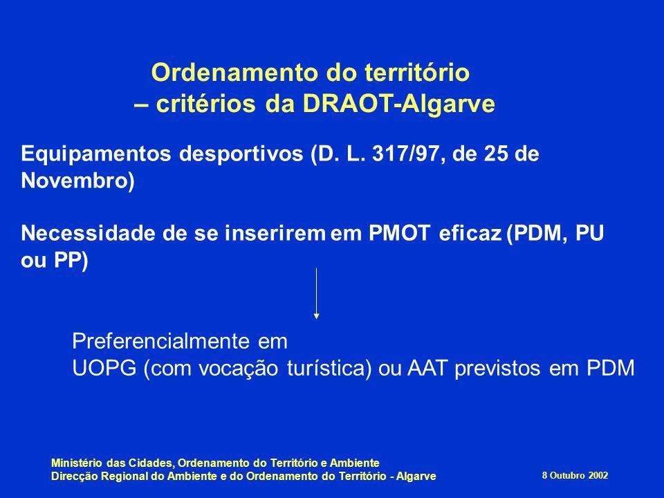 Ordenamento do território – critérios da DRAOT-Algarve