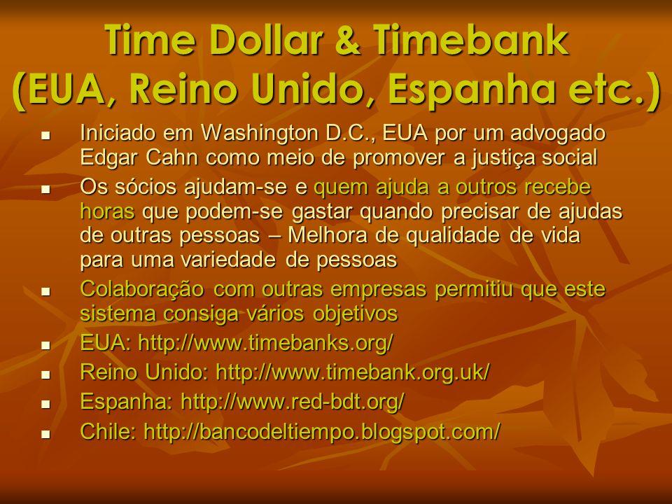 Time Dollar & Timebank (EUA, Reino Unido, Espanha etc.)
