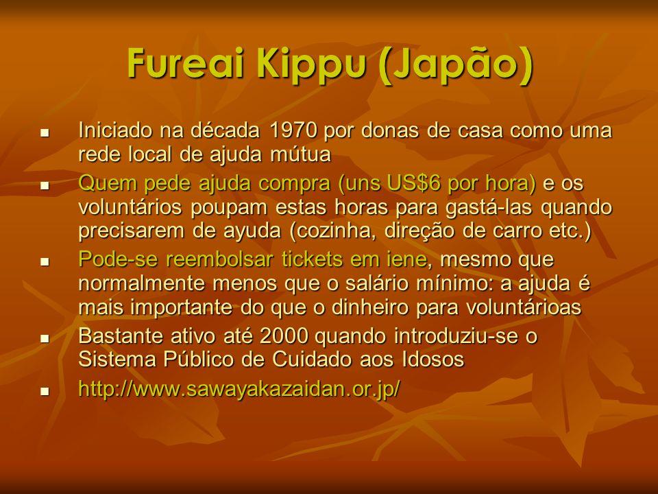 Fureai Kippu (Japão) Iniciado na década 1970 por donas de casa como uma rede local de ajuda mútua.