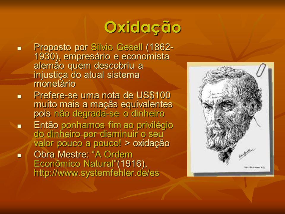 Oxidação Proposto por Silvio Gesell (1862-1930), empresário e economista alemão quem descobriu a injustiça do atual sistema monetário.