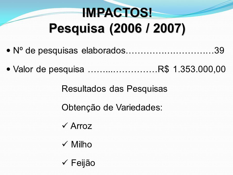 IMPACTOS! Pesquisa (2006 / 2007) Nº de pesquisas elaborados………….….……….…39. Valor de pesquisa ……...……………R$ 1.353.000,00.