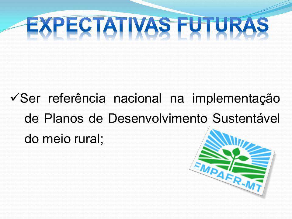 EXPECTATIVAS FUTURAS Ser referência nacional na implementação de Planos de Desenvolvimento Sustentável do meio rural;